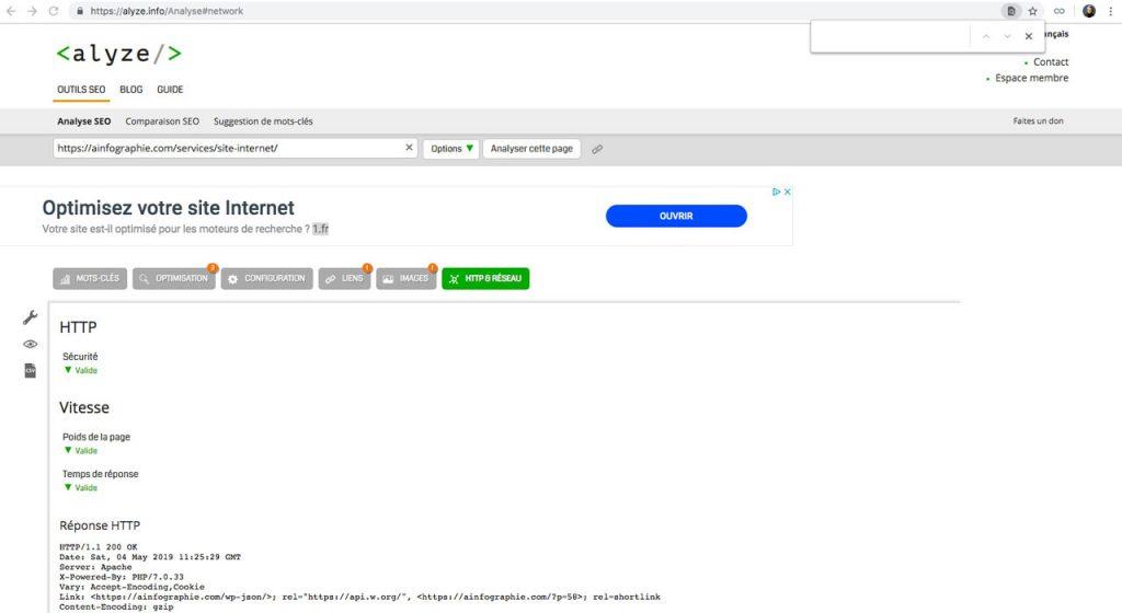 Alyze.com : analyser les entêtes HTTP et le réseau des pages d'un site Internet