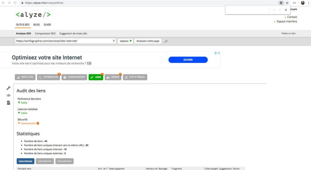 Alyze.com : analyser l'implantation des liens et les ancres des liens dans une page Web