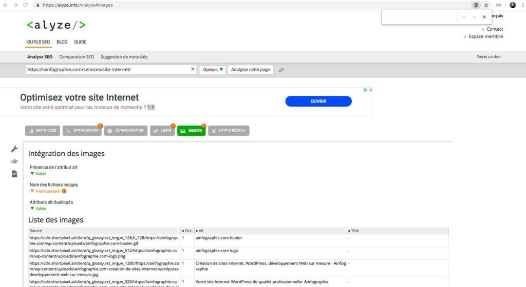 Alyze.com : analyser l'intégration des images dans le contenu des pages d'un site Internet et vérifier leurs textes alternatifs