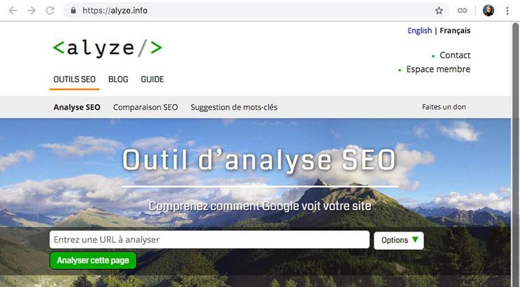 Alyze.com : outil d'analyse de la sémantique des pages d'un site Web pour optimisation du SEO, de son référencement naturel