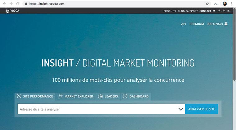 Yooda Insighr : outil d'analyse SEO et de vos concurrents sur Internet